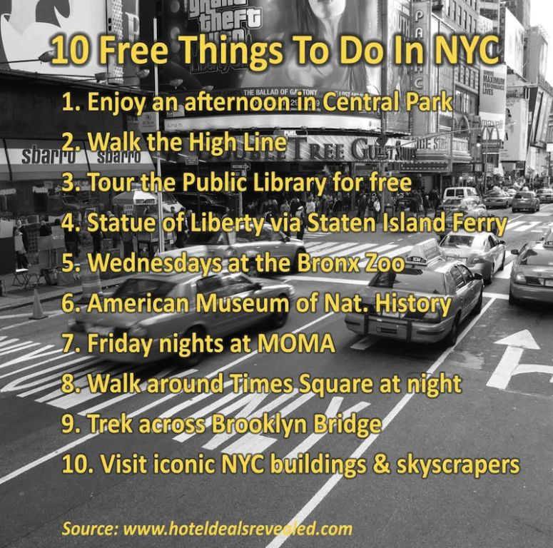 10 free things to do in new york city for tourists for New york thing to do